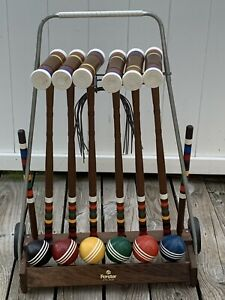 Vintage Forster Croquet Set 6 Player w/Rolling Cart/Stand Clean Complete Set