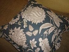 POTTERY BARN BLUE BROWN CREAM FLORAL PALMPORE ZIPPERED PILLOW 18 X 18