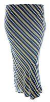New ladies plus size striped print skirt elastic waist black white navy yellow