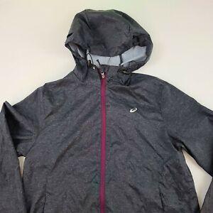 ASICS Running Jacket Lightweight Windbreaker Long Sleeve Charcoal Womens XS
