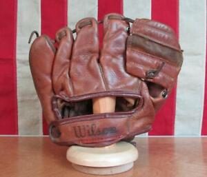 Vintage 1950s Wilson Leather Baseball Glove Fielders Mitt Frank Thomas A2184
