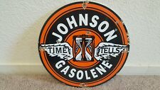 VINTAGE JOHNSON GASOLENE PORCELAIN  OIL PUMP LUBESTER PLATE SIGN 11 3/4""