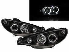 206/206 CC 98-02 PRE-FACELIFT LED Halo Projector Headlight Black for PEUGEOT LHD