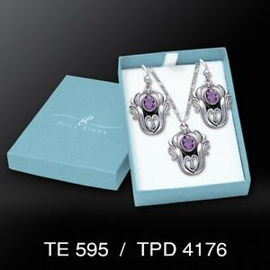 Celtic Knotwork Amethyst Tulip .925 Sterling Silver Boxed Set by Peter Stone