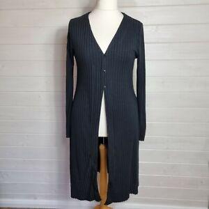 ZARA Black Long Ribbed Fine Knit Cardigan (Size XL UK 14 16) Button Up Stretch