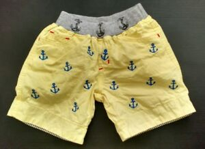 GAP Size 1 Baby's Pants, Yellow with Anchors, elastic stretchy waist
