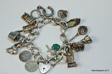 Vintage, Heavy Solid Silver Charm Bracelet, 80 Grams, 16 Charms, London 1972
