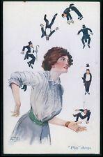 art Sewell Collins dominatrix risque big woman small men nude theme 10s postcard