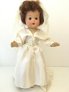 """Composition Doll 15"""" Vintage Unmarked Jointed Sleepy Eyes Bride"""