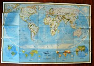National Graphic Classic 1995 Lg MAP OF THE WORLD Teaching Aide  Decor 34 x 30