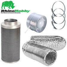 Rhino Hobby Carbon Filter Kit Hydroponics Odour Extraction Fan Ducting