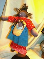 Vintage Cloth Black Doll Mom & Baby unmarked Denim Outfit Braided Hair