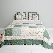 Tagesdecke 230x260 100 % Baumwolle Quilt Bettüberwurf Patchwork grün beige rosa