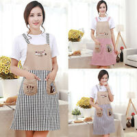 Women Plaid Kitchen Apron Restaurant Cooking BBQ Baking Chef Aprons Clean Pocket