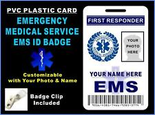 First Responder EMS ID Badge - EMERGENCY MEDICAL SERVICES - Custom w/ your Photo