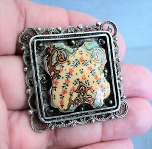Vintage TILE FRAGMENT in STERLING Silver Filigree BROOCH Palestine - Estate Find