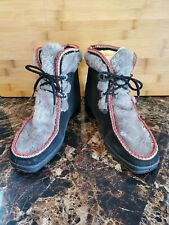 Vintage Snowland Faux Fur Snow Ski boots boho  Ankle Booties Black Gray Red Wm 7