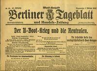 1917 BERLINER TAGEBLATT WWI Der U-Boot krieg und die Neutralen