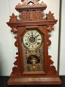 Victorian Walnut 8 Day Parlor Clock ~ Spoon Carved Walnut ~ Time, Strike & Alarm