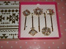 Women's Hair Accessories 5-PC SET Fashion Gold Tone LG Bobby Pins Crystals + BOX