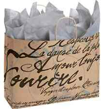 "Paris French Script Gift Bags-10 Large- Neutral Kraft Paper 16""L x 6""D x12.5"" H"