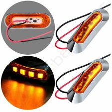 2 Amber Side Marker Light Clearance Truck Trailer With Chrome Cover Bezel 4led Fits Rsx