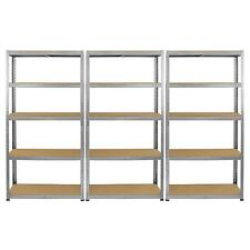 3 Galvanised Steel Racking Garage Storage Shelving 5 Tier Shelves 75cm Wide Bay