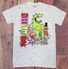 62de7971041 Nickelodeon Small Hey Arnold Ren Stimpy Classic White Blue Speckled Shirt   149C