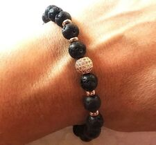 LUX Aromatherapy Bracelet Diffuser Rose Gold Essential Oils Lava Stone Natural