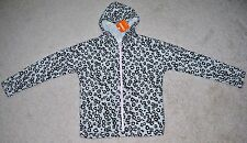 Gymboree Girls' Gray Leopard Print Zip Front French Terry Hoodie - Size 10-12
