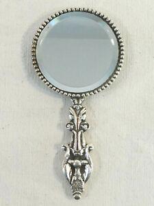 Face a main petit miroir de sac a main en metal argenté glace biseauté