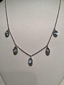 "Judith Ripka 925 sterling Silver Multi-Stone Blue Topaz Necklace 18"""