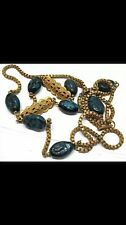 OLD MIRIAM HASKELL GOLD BLUE GLASS BEAD NECKLACE 33 INCHES LONG