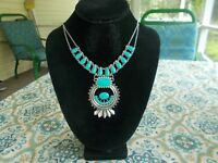 SQUASH BLOSSOM NECKLACE in turquoise and turquoise     18 inch adj.