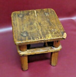 """Antique 9"""" Chinese Hand Made Square Wooden Foot Stool Bench c. 1880"""