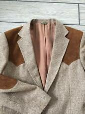 vtg 1950s Rockabilly LEVIS Tweed  42L Blazer Jacket Leather Western Wool