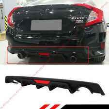 For 2016-2018 Honda Civic 4dr Sedan JDM Rear Bumper Diffuser+LED 3rd Brake Light