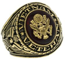 Vietnam Veteran US Army Mens Ring 6 Carat Simulated Ruby 18k Gold Overlay Siz 10