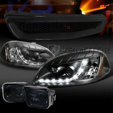 Fit 96-98 Civic Black R8 LED DRL Projector Headlights+Grille+Smoke Fog Lamps