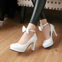 Womens Bowtie Cross Ankle Strap Platform High Heel Wedding Prom Shoes Pumps Plus