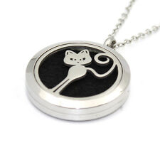 Cat - Stainless Steel Aromatherapy or Perfume Pendant and Chain | Free Post
