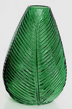Green Glass Leaf Cut Design Ridged Table Vase Flower Pot 22cm Ornament