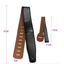 Black Faux Leather Guitar Strap  Electric Acoustic Guitar 6 FREE PICKS +Holder
