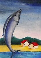Original ART ACEO oil PAINTING LAKE FISH cottages mountain landscape