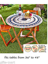 "mosaic tile Elastic fitted vinyl outdoor 48"" round patio table cover tablecloth"