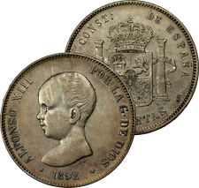 1892 SPAIN 5 PESETAS SILVER COIN AU