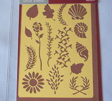 Nature Solid Brass Embossing Stencil  Inkadinkado with Shells, Leaves & Flowers