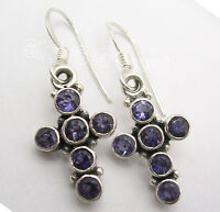 925 Sterling Silver Real IOLITE Multistone Combination CROSS Earrings 1.3""