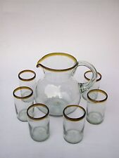 Mexican Glassware - Amber Rim pitcher and 6 drinking glasses set