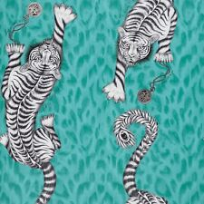 EMMA J SHIPLEY ANIMALIA TIGRIS WALLPAPER TEAL W0105/05 TIGERS